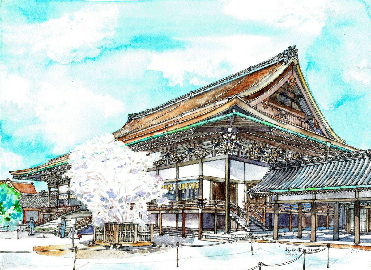 紫宸殿と左近の桜(京都御所)