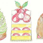 ケーキ(クリスマスツリー、ショートケーキ、モンブラン)
