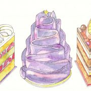 ケーキ(ショートケーキ、紫芋のモンブラン、オペラ)