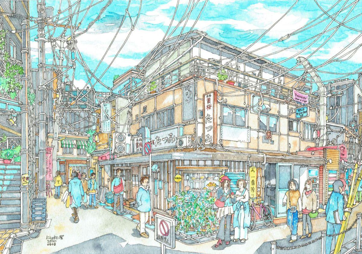 Ura-Teramachi building with bars - Hyakuren, Tatsumi, Suntory Sky, Frontier, Sancho Salad restaurant