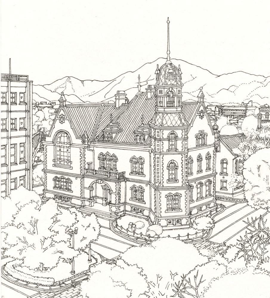 クラーク記念館(白黒)